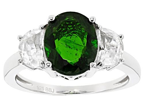 Photo of 2.50ct Oval Russian Chrome Diopside With 1.31ctw Crescent Shape White Zircon Sterling Silver Ring - Size 12