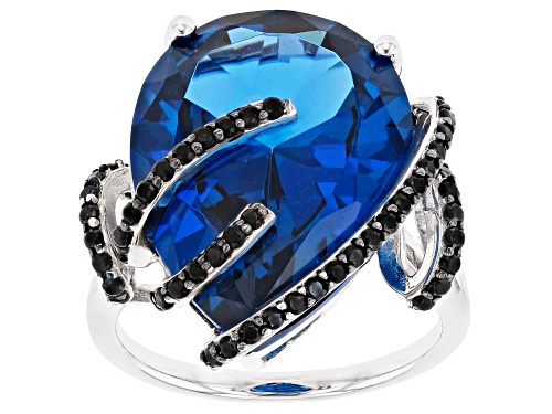 Photo of 14.14ct Pear Shape Lab Created Blue Spinel And .52ctw Round Black Spinel Sterling Silver Ring - Size 5