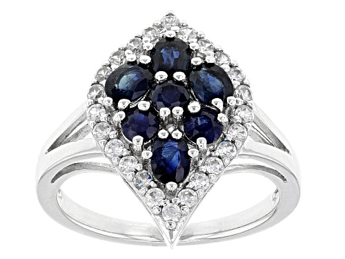 Photo of 1.23ctw Oval And Round Blue Kanchanaburi Sapphire With .47ctw Round White Zircon Silver Ring - Size 12