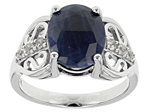 Photo of 4.51ct Oval India Blue Sapphire And .18ctw Round White Zircon Sterling Silver Ring - Size 11