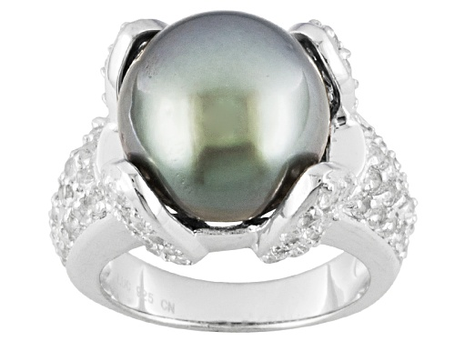 Photo of 12-12.5mm Cultured Tahitian Pearl With 1.64ctw White Topaz Rhodium Over Sterling Silver Ring - Size 11