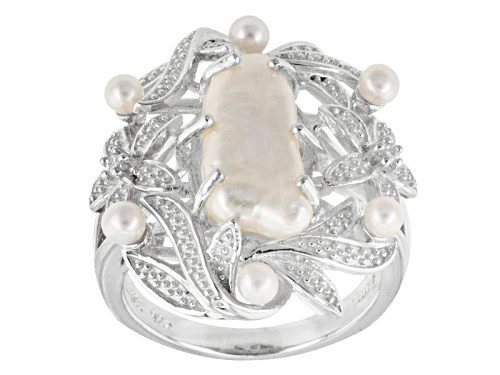 Photo of 2.5-3mm & 8x15mm White Cultured Freshwater Pearl With 0.04ctw Bella Luce® Rhodium Over Silver Ring - Size 5