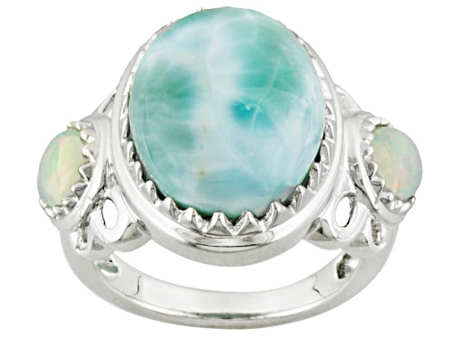 Photo of Oval Cabochon Larimar With .62ctw Round Ethiopian Opal Sterling Silver Ring - Size 6