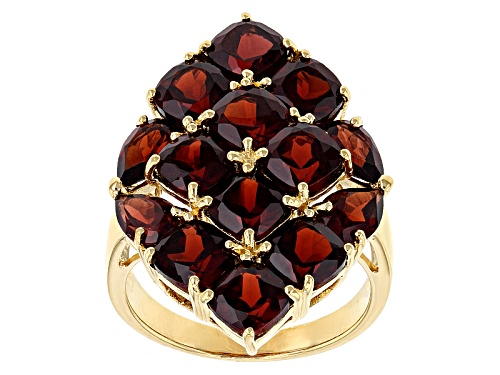 Photo of 9.55ctw Square Cushion And Pear Shape Vermelho Garnet™ 18k Yellow Gold Over Sterling Silver Ring - Size 6
