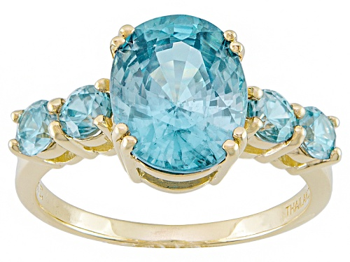 Photo of 4.35ctw Oval And Round Blue Zircon 14k Yellow Gold Ring - Size 9