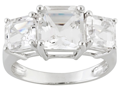 Photo of 4.27ctw Asscher Cut Danburite 3-Stone 10k White Gold Ring - Size 8