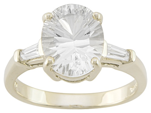 2.30ct Oval Danburite With .24ctw White Zircon 10k Yellow Gold Ring - Size 10