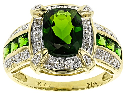 Photo of 2.73ctw Cushion & Square Russian Chrome Diopside With Diamond Accent 10k Yellow Gold Ring - Size 12