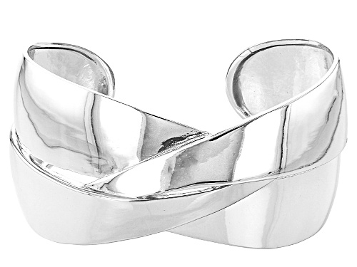 Photo of Rhodium Over Sterling Silver Crossover Mirror 7.25 Inch Cuff Bracelet - Size 7.25