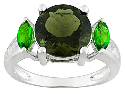 Photo of 2.34ct Moldavite, .43ctw Russian Chrome Diopside And .20ctw White Zircon Sterling Silver Ring - Size 10