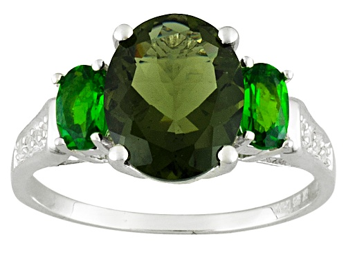 Photo of 1.49ct Moldavite, .43ctw Russian Chrome Diopside And .01ctw White Zircon Sterling Silver Ring - Size 9