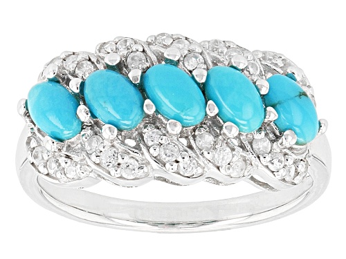 Photo of 5x3mm Oval Cabochon Turquoise With .47ctw Round White Zircon Sterling Silver Ring - Size 11