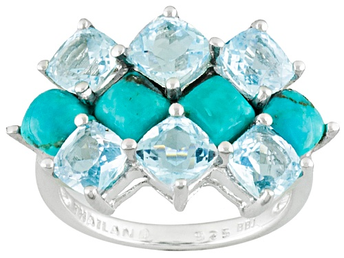 Photo of 5mm Square Cushion Turquoise And 3.74ctw Square Cushion Glacier Topaz™ Sterling Silver Ring - Size 5