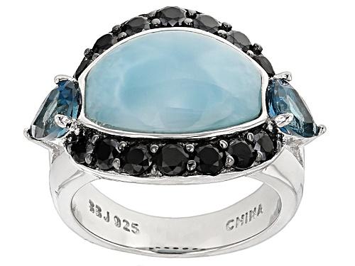 Photo of Barrel Shape Cabochon Larimar, .83ctw Pear Shape London Blue Topaz, .92ctw Black Spinel Silver Ring - Size 6