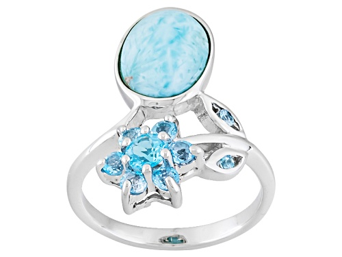 Photo of 9x7mm Oval Cabochon Larimar And .74ctw Round Blue Topaz Sterling Silver Flower Ring - Size 6