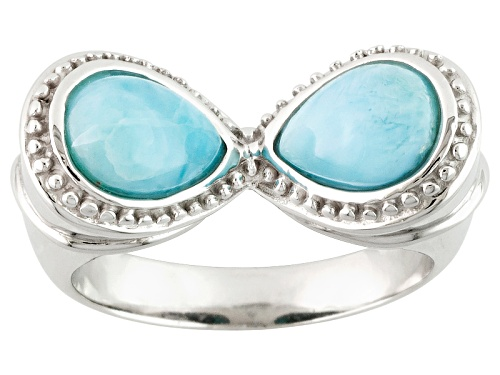 8x6mm Pear Shape Larimar Sterling Silver 2-Stone Ring - Size 6