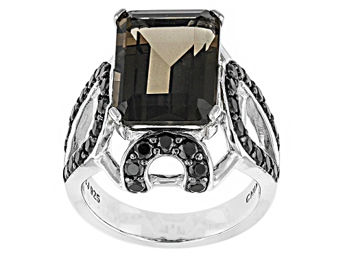 Photo of 6.21ct Emerald Cut Smoky Quartz With 1.54ctw Round Black Spinel Sterling Silver Ring - Size 5