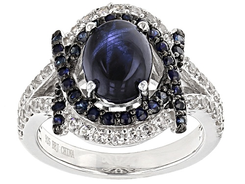 Photo of 1.96ct Oval Blue Star And .50ctw Round Blue Sapphire With .65ctw White Zircon Sterling Silver Ring - Size 5