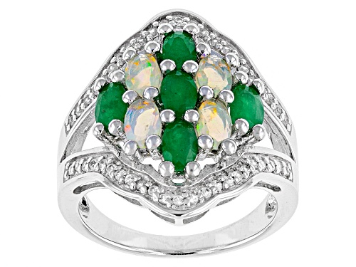 .44ctw Oval Ethiopian Opal With 1.19ctw Oval Sakota Emerald And .27ctw White Zircon Silver Ring - Size 8