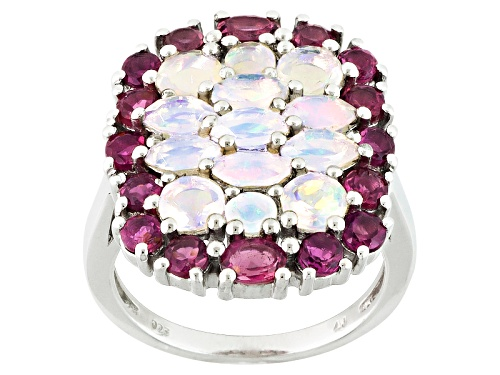 Photo of 1.26ctw Marquise And Round Ethiopian Opal With 1.74ctw Oval And Round Pink Tourmaline Silver Ring - Size 5