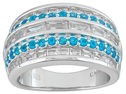 Photo of .49ctw Round Neon Apatite With 1.91ctw Round White Zircon Sterling Silver Band Ring - Size 7