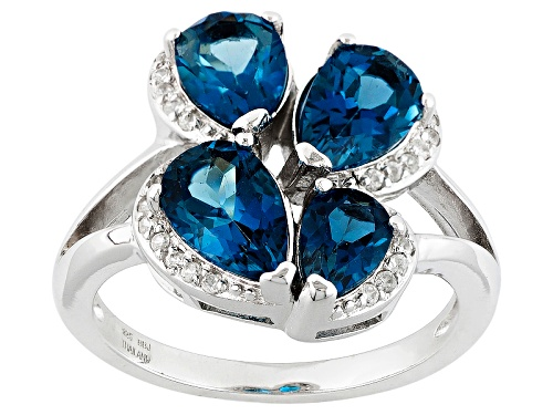 Photo of 2.90ctw Pear Shape London Blue Topaz And .17ctw Round White Zircon Sterling Silver Ring - Size 11