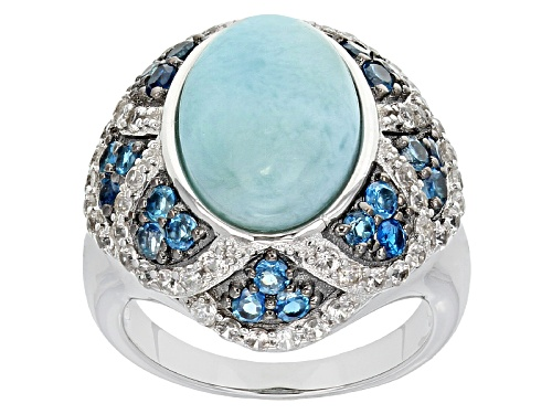 Photo of 14x10mm Oval Larimar, .78ctw London Blue Topaz And .95ctw White Zircon Sterling Silver Ring - Size 6