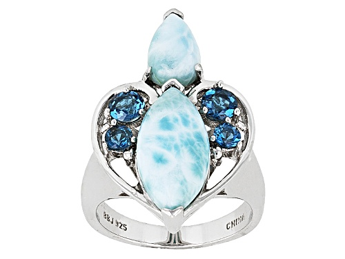 Photo of Marquise And Pear Shape Cabochon Larimar With .75ctw London Blue Topaz Silver Ring - Size 8