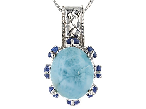 Photo of 12x10mm Oval Larimar And .95ctw Round Kyanite Sterling Silver Pendant With Chain