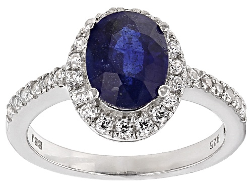 Photo of 2.13ct Oval Blue Mahaleo® Sapphire With .51ctw Round White Zircon Sterling Silver Ring - Size 12