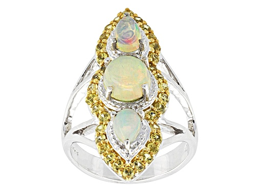 Photo of 1.50ctw Pear Shape And Round Cabochon Ethiopian Opal With  1.36ctw Yellow Sapphire Silver Ring - Size 6