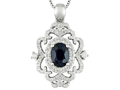 Photo of 1.36ct Oval Blue Sapphire With .72ctw Round White Zircon Sterling Silver Pendant With Chain