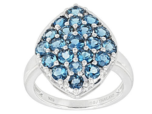 Photo of 2.44ctw Round London Blue Topaz Sterling Silver Cluster Ring - Size 8