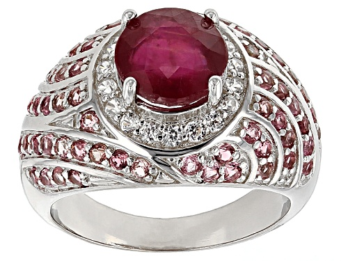 Photo of 2.50ct Mahaleo® Ruby With 1.00ctw Pink Tourmaline And .31ctw White Zircon Sterling Silver Ring - Size 7
