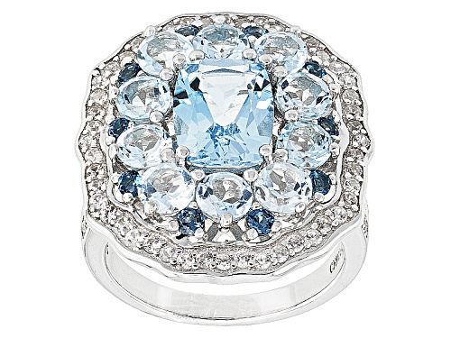 Photo of 4.72ctw Glacier Topaz™, .34ctw London Blue Topaz And .74ctw White Zircon Sterling Silver Ring - Size 7