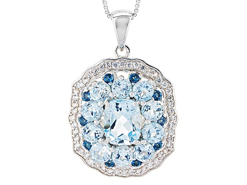 Photo of 4.89ctw Glacier Topaz™, .34ctw London Blue Topaz, .78ctw White Zircon Silver Pendant With Chain