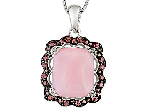 12x10mm Cushion Peruvian Pink Opal With .31ctw Rhodolite Garnet Sterling Silver Pendant With Chain