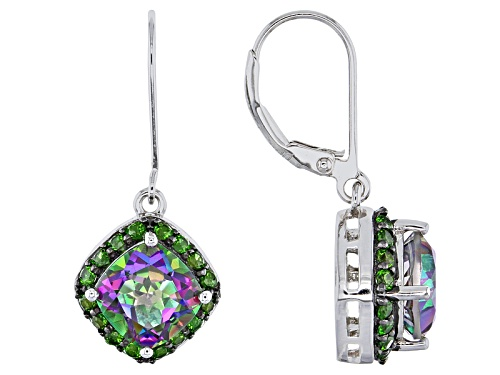 Photo of 3.74ctw Square Cushion Multicolor Quartz, .70ctw Round Russian Chrome Diopside Silver Earrings