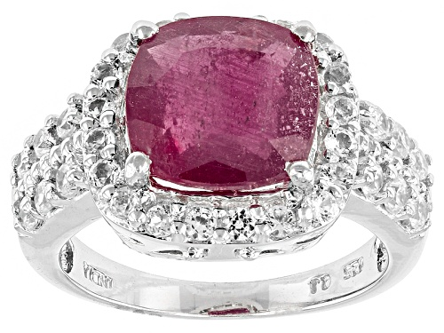 Photo of 4.04ct Square Cushion Mahaleo® Ruby And 1.34ctw Round White Zircon Sterling Silver Ring - Size 11