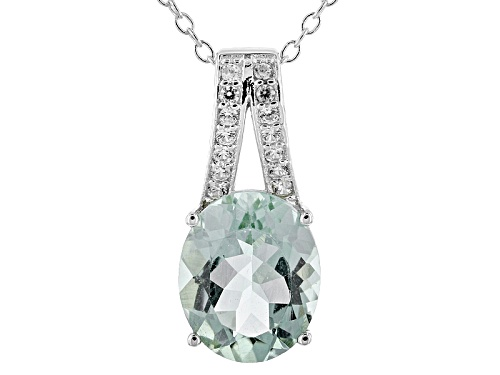 Photo of 2.55ct Oval Prasiolite With .12ctw Round White Zircon Sterling Silver Pendant With Chain
