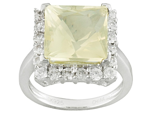 Photo of 3.82ct Square Yellow Mexican Labradorite With .68ctw Round White Zircon Sterling Silver Ring - Size 12