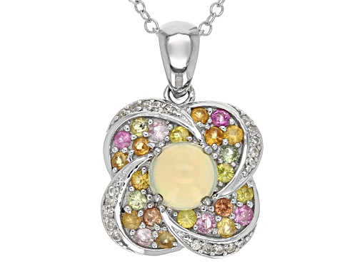 Photo of .42ct Round Ethiopian Opal, .21ctw White Zircon, .71ctw Multi-Sapphire Silver Pendant With Chain