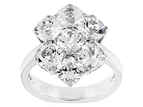 Photo of 3.50ctw Square Cushion White Danburite Sterling Silver Cluster Ring - Size 10