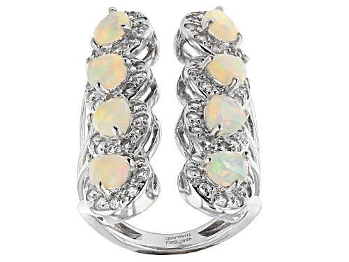 Photo of 1.56ctw Pear Shape Ethiopian Opal And 1.36ctw Round White Zircon Sterling Silver Ring - Size 4