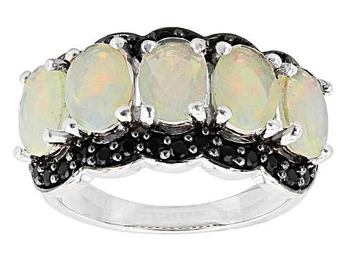 2.10ctw Oval Ethiopian Opal With .76ctw Round Black Spinel Sterling Silver 5-Stone Band Ring - Size 6