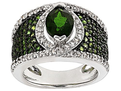 Photo of 2.16ctw Marquise And Round Russian Chrome Diopside With .73ctw Round White Zircon Silver Ring - Size 5