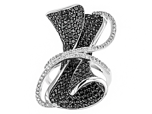 Photo of 2.06ctw Round Black Spinel With .42ctw Round White Zircon Sterling Silver Ring - Size 5