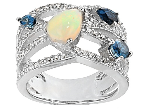 Photo of .60ct Ethiopian Opal,.87ctw London Blue Topaz With .56ctw White Zircon Sterling Silver Ring - Size 5