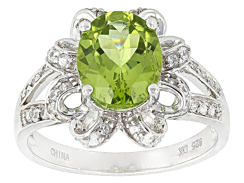 Photo of 2.12ct Oval Manchurian Peridot™ And .40ctw Round White Zircon Sterling Silver Ring - Size 8