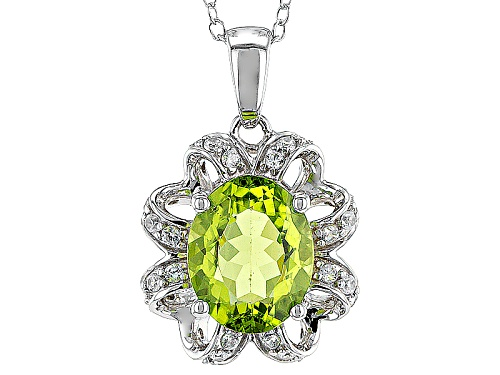 Photo of 2.12ct Oval Manchurian Peridot™ And .25ctw Round White Zircon Sterling Silver Pendant With Chain